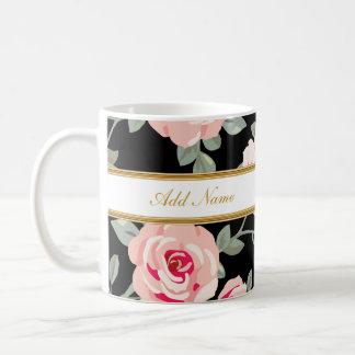 Tazas de café con clase del monograma de la flora