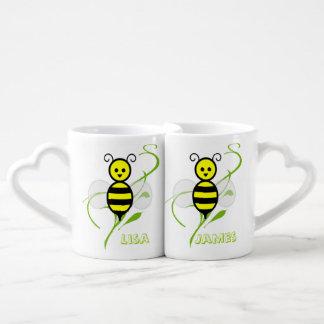 Tazas de café de encargo del amante de la abeja de taza para parejas