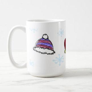 Tazas de café del bosquejo del Doodle del invierno