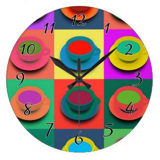 Tazas de café del Estallido-Arte Reloj Redondo Grande