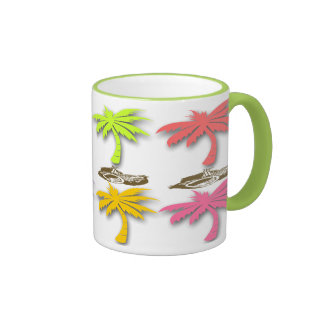 Tazas de café del modelo de las palmeras