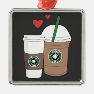 ¡Tazas de café en amor! Adorno Navideño Cuadrado De Metal