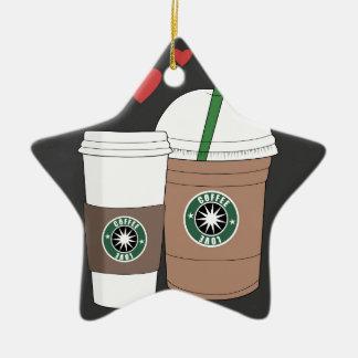 ¡Tazas de café en amor! Adorno Navideño De Cerámica En Forma De Estrella