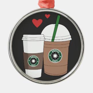 ¡Tazas de café en amor! Adorno Navideño Redondo De Metal
