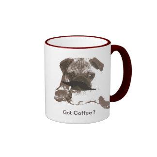 Tazas de café lindas del barro amasado del bigote