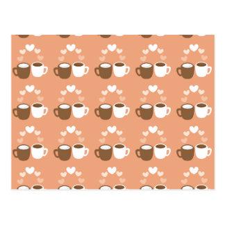 Tazas de café lindas en corazones del amor del tarjetas postales
