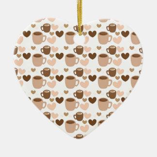 Tazas de café más lindas en los corazones blancos adorno de cerámica en forma de corazón