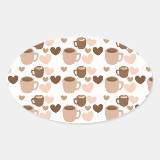 Tazas de café más lindas en los corazones blancos pegatina ovalada