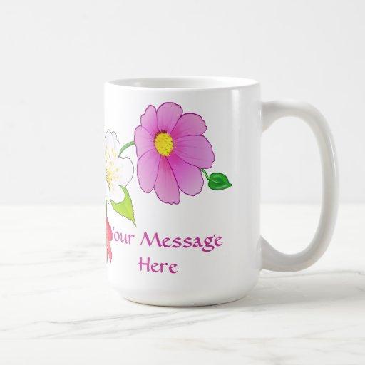 Tazas de café personalizadas flor hawaiana con nom