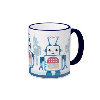 Tazas de café robóticas de los robots azules