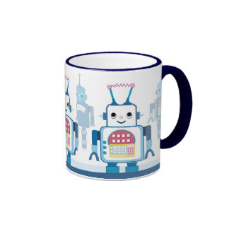 Tazas de café robóticas de los robots azules fresc