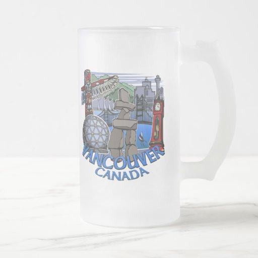 Tazas de cerveza de Vancouver Canadá y vidrios de