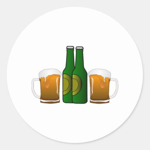 Tazas de cerveza pegatina redonda