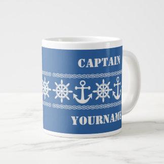 Tazas de encargo náuticas del texto y del color taza grande