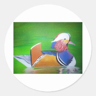 tazas de la pintura del pato de mandarín, casos de pegatina redonda