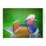 tazas de la pintura del pato de mandarín, casos de felicitación