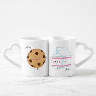 Tazas de los amantes de la leche y de la galleta taza para enamorados