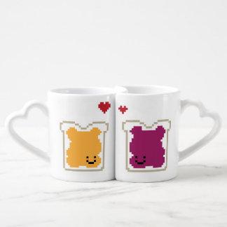 Tazas de los pares de la jalea de la mantequilla taza para enamorados