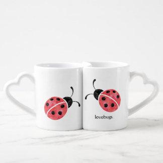 Tazas de Lovebug de la mariquita de la acuarela Tazas Para Parejas