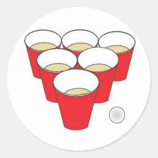 Tazas de Pong de la cerveza Pegatina Redonda