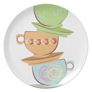 Tazas de té plato de cena