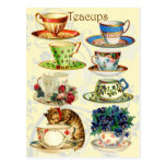 Tazas de té por tiempo del té postales