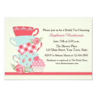Tazas de té y rosas, té nupcial invitaciones personalizada