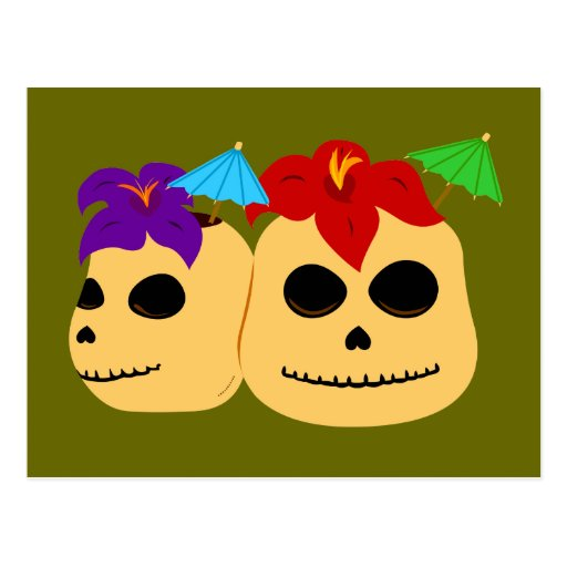 Tazas de Tiki del cráneo Postal