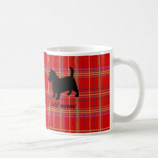 Tazas del perro y de la tela escocesa o del tartán