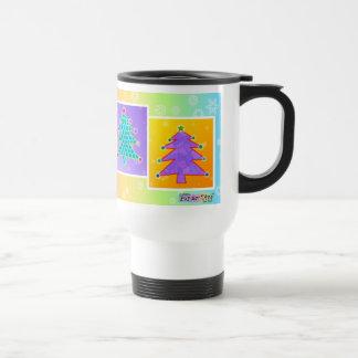 Tazas del viaje - árboles de navidad del arte pop
