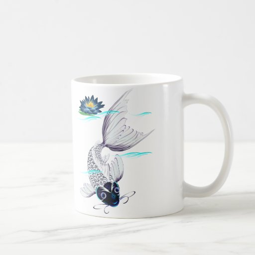 Tazas Koi-Azules blancas del lirio