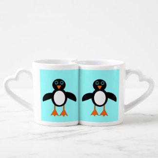 Tazas lindas de los amantes del pingüino taza para parejas