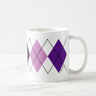 Tazas púrpuras de Argyle de la tela escocesa