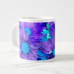 Tazas púrpuras de las margaritas de la turquesa de taza jumbo
