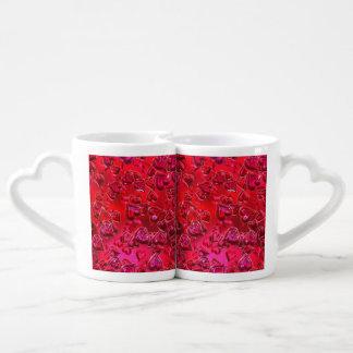 Tazas rojas brillantes de Lover´s de los corazones Tazas Para Enamorados