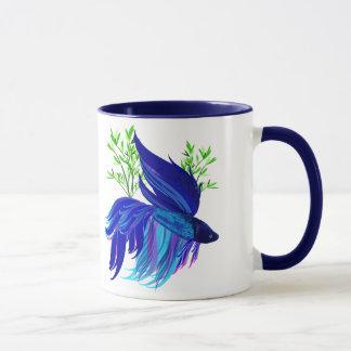 Tazas siamesas azules grandes de los pescados que