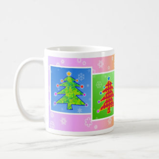 Tazas, tazas - árboles de navidad del arte pop