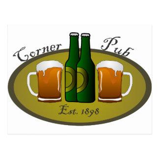 Tazas y botellas de la esquina de cerveza del Pub Postales