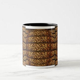 Tazas y tazas de la piel 3D del leopardo