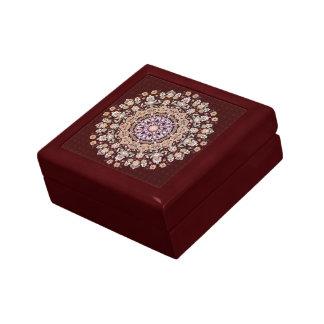 Tazhib decorado del arte persa en fondo granate cajas de joyas