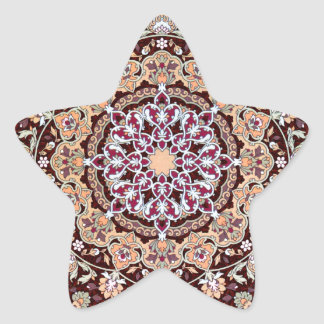 Tazhib decorado del arte persa en fondo granate pegatina en forma de estrella