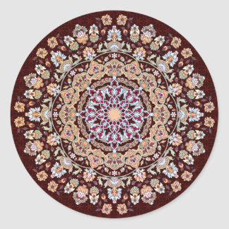 Tazhib decorado del arte persa en fondo granate pegatina redonda