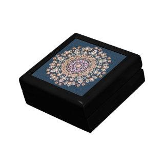 Tazhib decorado del arte persa fondo damasco azul cajas de recuerdo