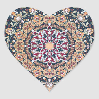 Tazhib decorado del arte persa fondo damasco azul pegatina en forma de corazón