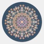 Tazhib decorado del arte persa fondo damasco azul pegatina redonda