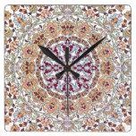 Tazhib decorado del arte persa, mandala persa reloj cuadrado