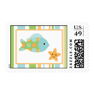 {TBA} 20 Postage Stamps Striped Ocean Sea Life