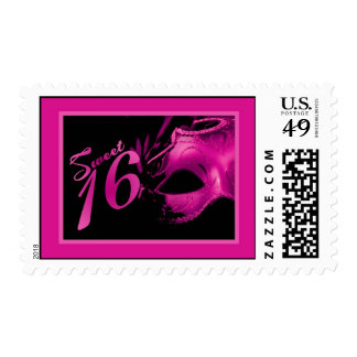 {TBA} 20 Postage Stamps Sweet 16 Pink Black Party