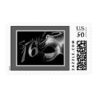 {TBA} 20 Postage Stamps Sweet 16 Silve Black Party