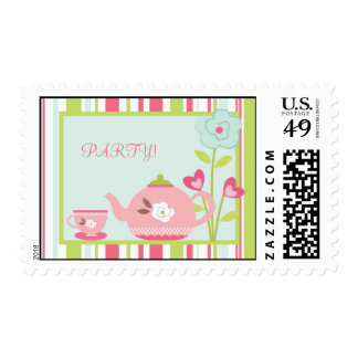 {TBA} 20 Postage Stamps Tea Party Pink